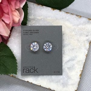 Nordstrom Rack Jewelry - Sterling Silver 8 CTW Cubic Zirconia Studs NWT